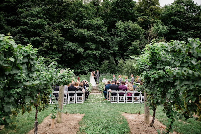 Niagara Wedding Planner - A Divine Affair - Alyssa and Steve - Photo by Gemini Photography. Ceremony outside at the escarpment at Cave Springs Vineyard in Jordan. Reception at Inn on the Twenty with blush and gold decor. Ivory and blush flowers.