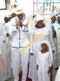 Toolz and Tunde Demerun go for thanksgiving at white garment church in Lagos