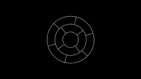 [Image: White concentric circles on a black background, with evenly separated lines connecting them.]