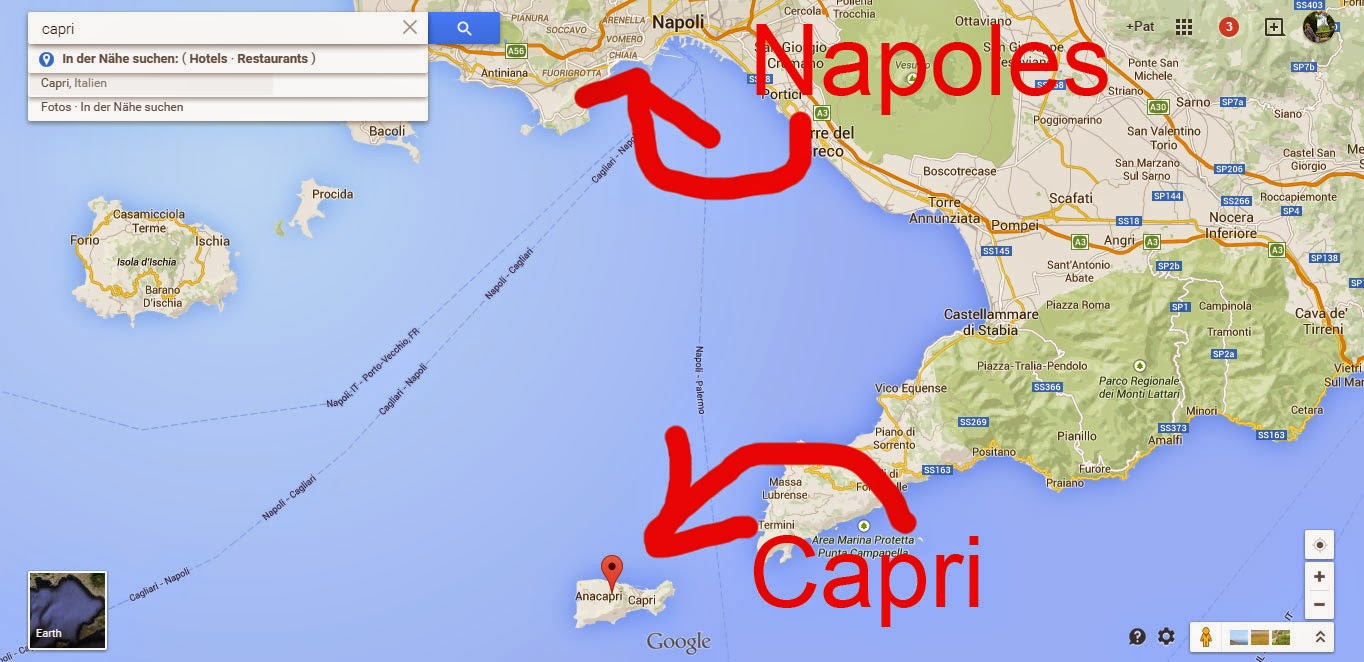 Onde fica Capri: mapa.