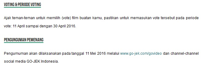 lomba video gojek 2016, lomba film gojek 2016, go-video gojek