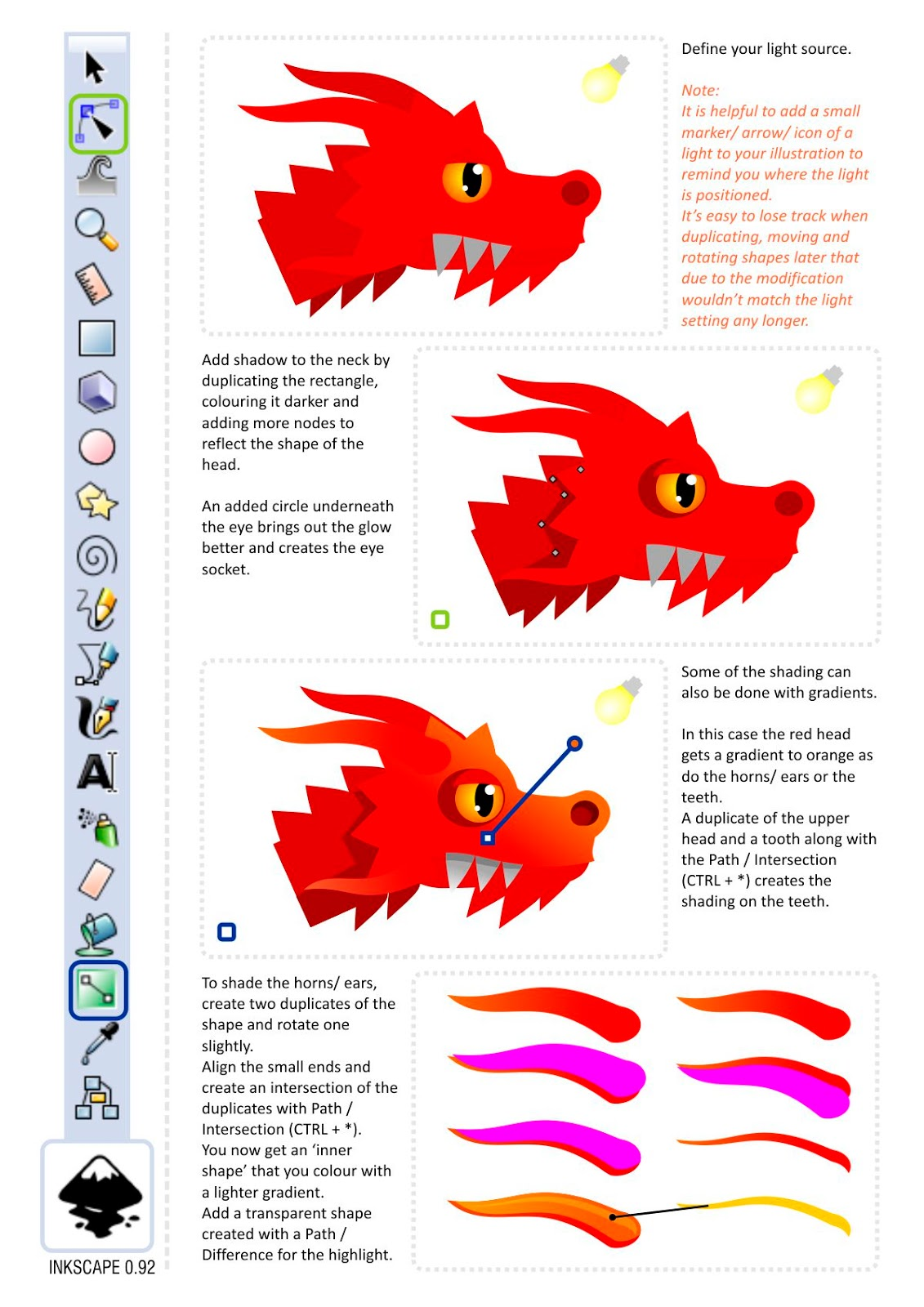 Inkscape Character Design Tutorial : Character design in inkscape a dragon s head d game