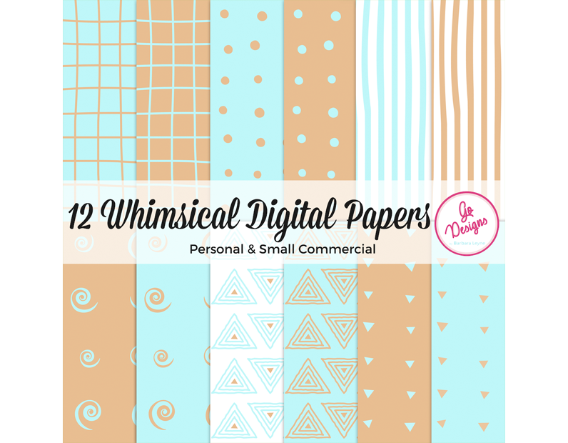 Blue and Orange Digital Papers full of fun and whimsy with a hand drawn look