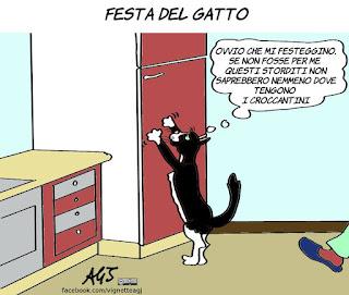 festa del gatto, gatti, umorismo, croccantini, vignetta