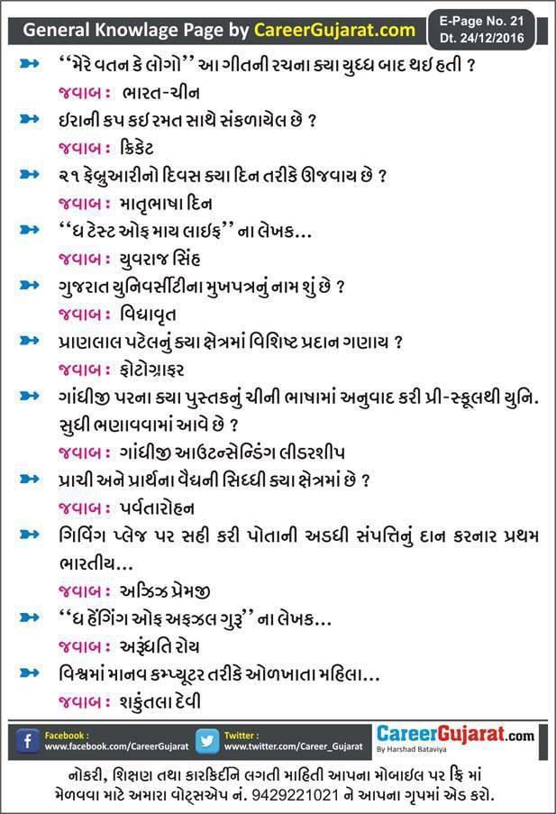 General Knowledge Page by Career Gujarat