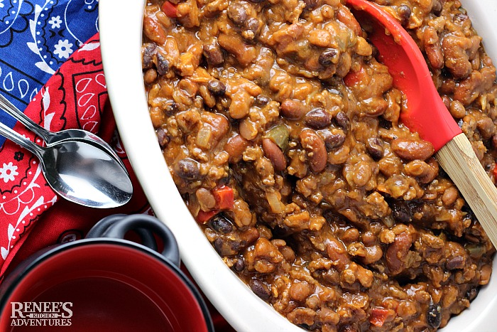 Slow Cooker Cowboy Baked Beans | Renee's Kitchen Adventures