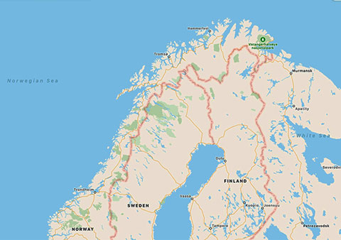 Upcoming cruise gets above Arctic Circle, Tromso and beyond, almost to Hammerfest (Source: Palmia Observatory)