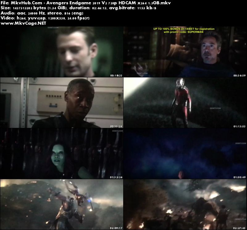 Avengers Endgame 2019 Dual Audio [Hindi-English] 720p HDCAM 1.8GB
