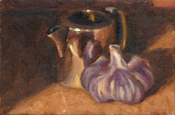 Oil painting of a miniature silver-plated jug beside a purple-tinted bulb of garlic.