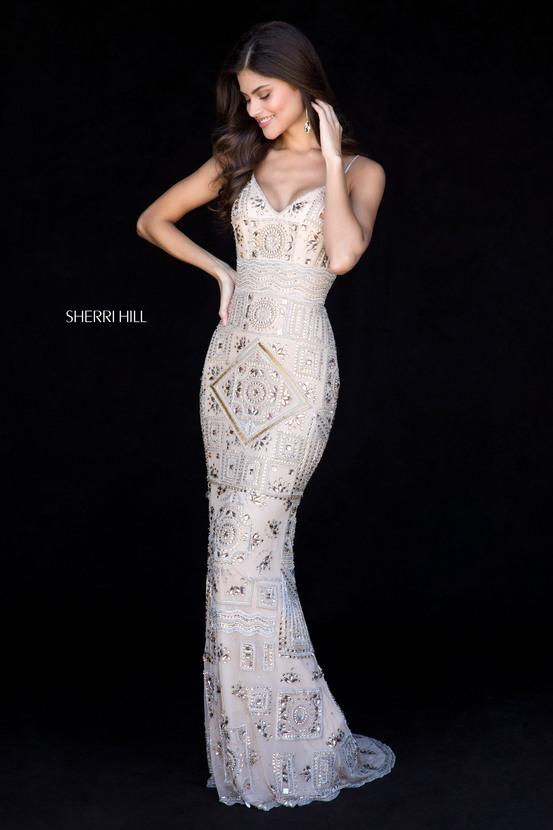 88d6cdc38198e Beaded Gold/Silver Sweetheart Neckline Long Prom Dresses 2018 Sherri Hill  51740