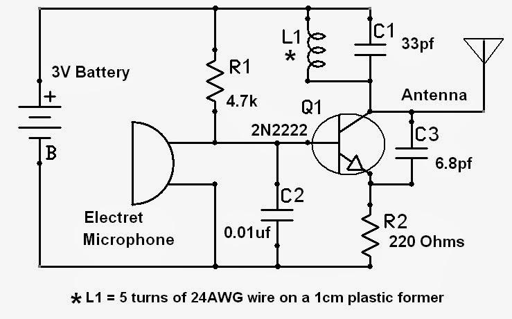 voyager 1 circuit diagram electronic    circuit       diagrams    spy bug fm transmitter  electronic    circuit       diagrams    spy bug fm transmitter