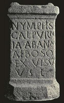 Ara de Calpurnia Abana dedicada a las ninfas de las aguas hallada en As Burgas