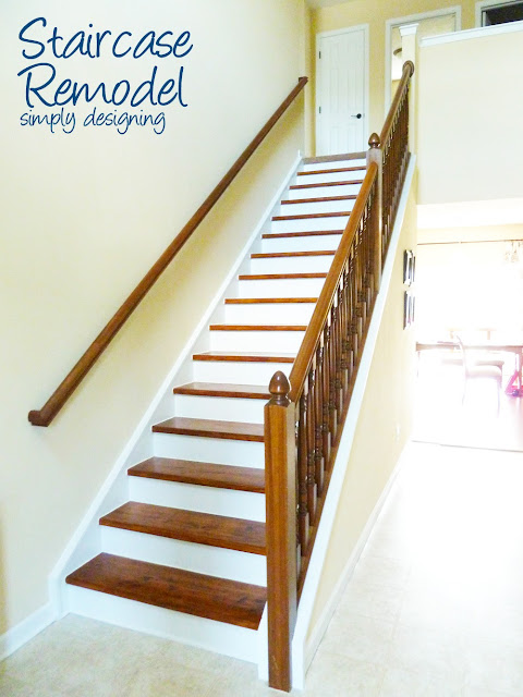 Staircase Remodel | step by step instructions on how to rip up carpet and refinish wood stairs, including all the mistakes we made along the way | Simply Designing | #diy #decorating #homedecor #homeimprovement #homeprojects #tutorial #stairs #stain