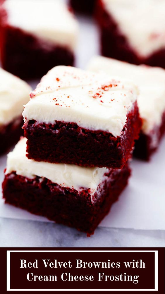 These red velvet brownies are seriously the perfect brownie recipe! Perfectly moist and chewy with the bright red color. The cream cheese frosting is the perfect finishing touch! These are AMAZING!