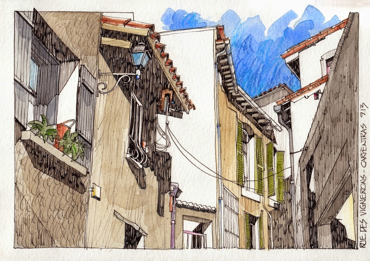 22-Carpentras-Rue-Des-Vignerons-Jorge-Royan-Drawings-Sketches-of-Travel-Logs-www-designstack-co