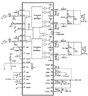 Hình 10 - Sơ đồ nguyên lý mạch khuếch đại công suất âm thanh.