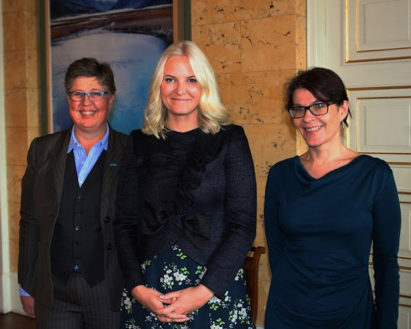 Crown Princess Mette-Marit wore Valentino Ruffle trimmed wool and silk blend jacket and BYTIMO Autumn 50's Dress