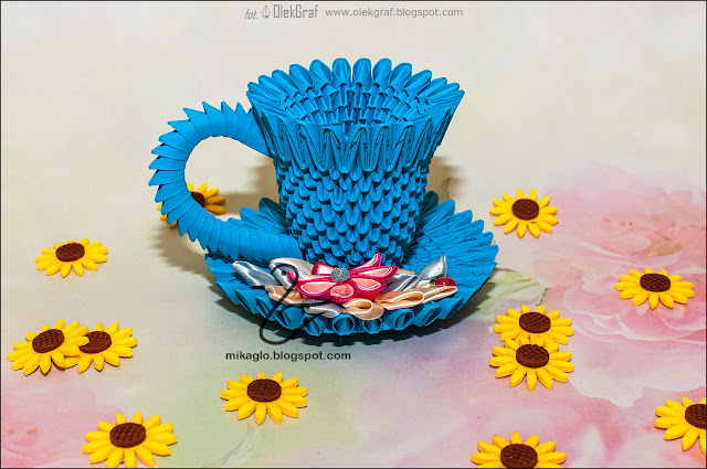 648. Filiżanka z kwiatami z origami / 3d origami tea cup