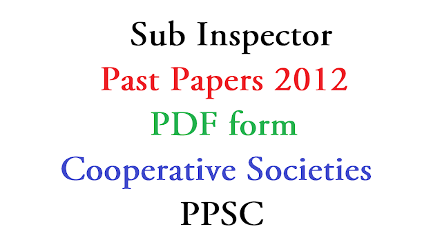 Inspector Cooperative Societies PDF papers 2019