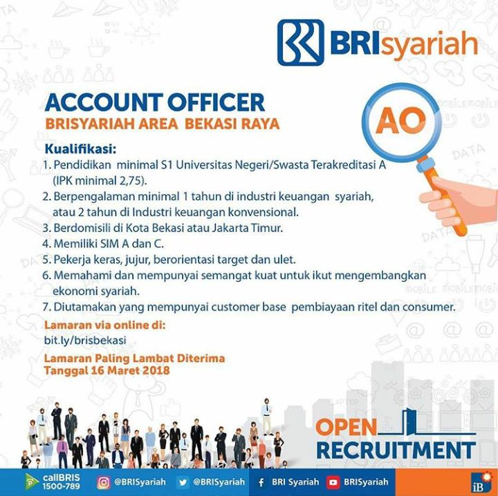 Penerimaan Karyawan Account Officer di Bank BRI Syariah Dibuka Sampai Tanggal 16 Maret 2018
