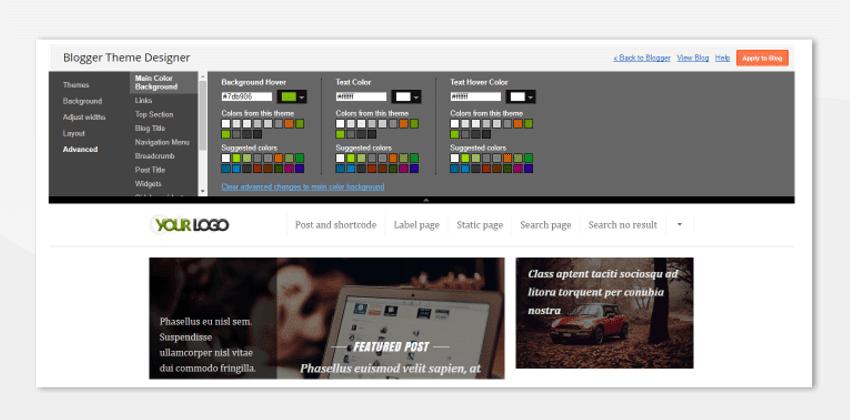 Blogger theme - dukungan theme designer