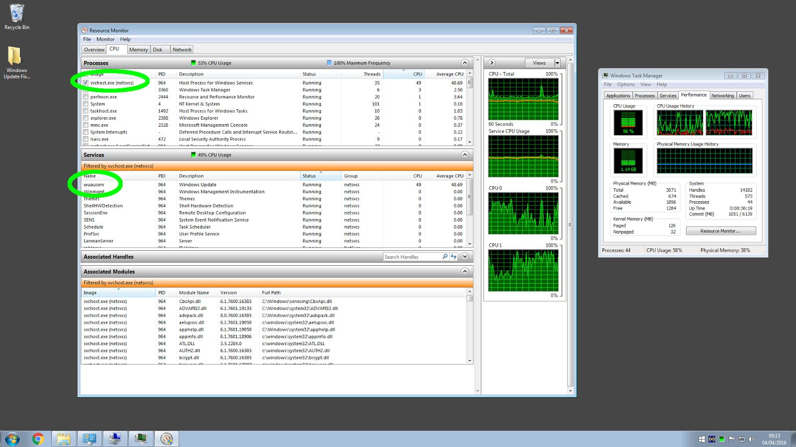 DextersLab2013: Windows 7 WUAUSERV With High CPU & No