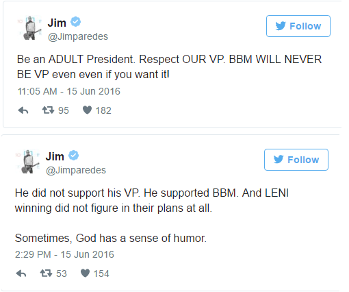 Jim Paredes: Duterte did not support his VP, he supported BBM