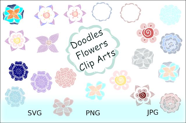 Flowers Doodles Clipart