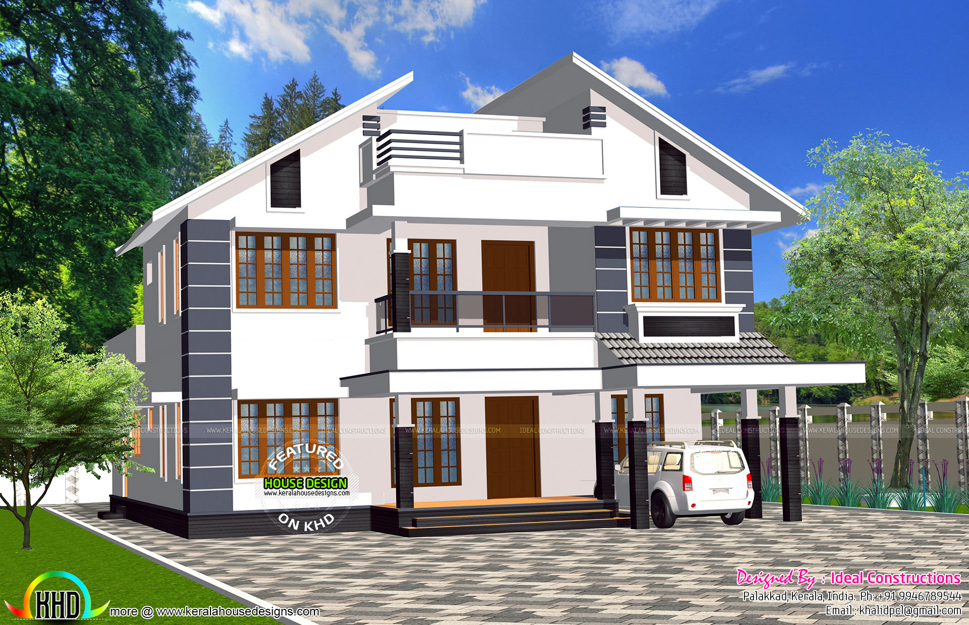 Modern slanting roof 2400 sq ft kerala home design and for Modern house plans 2400 sq ft