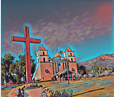A drawing from a photograph of the Mission Santa Barbara in California, the tenth mission of the California missions built in the late 18th Century it is the only mission church with two bell towers on the West front of the church.