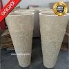 Paket wastafel plus pedistal marmer tulungagung asli batu alam diameter 40 cm
