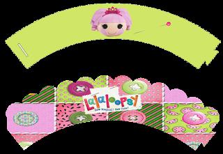 Wrappers para cupcakes de Lalaloopsy en Verde.