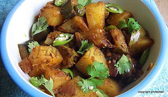 Aloo Baingan sabzi, Potato Eggplant Curry