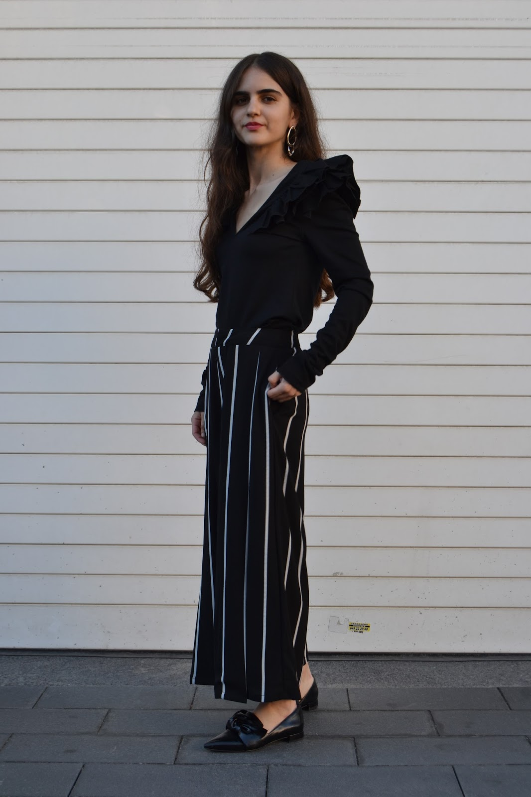 Outfit culottes de rayas