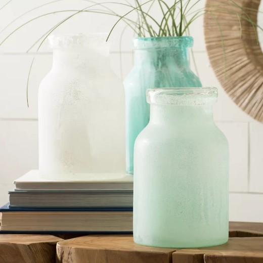 Blue Green Glass Vases for Coastal Decor