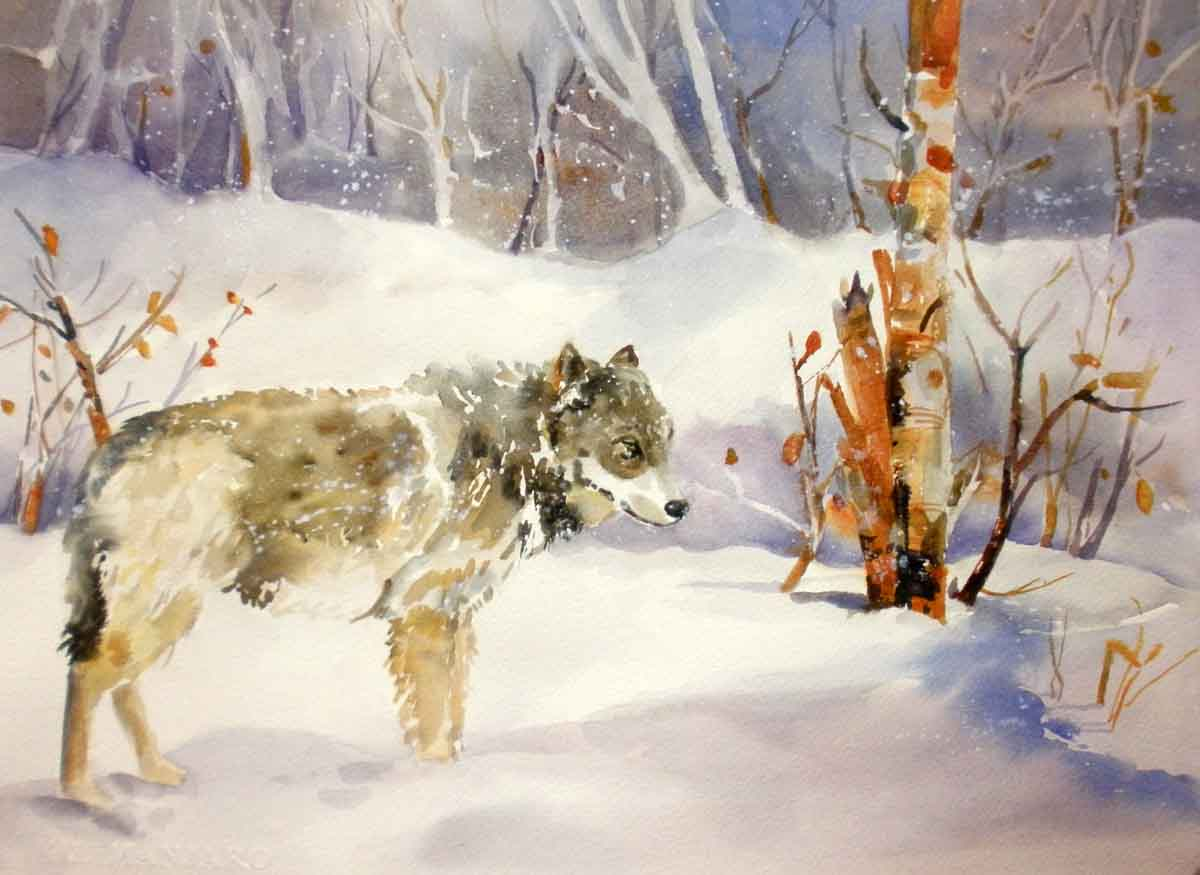 Kaysmithbrushworks Stillness Wolf In Snow