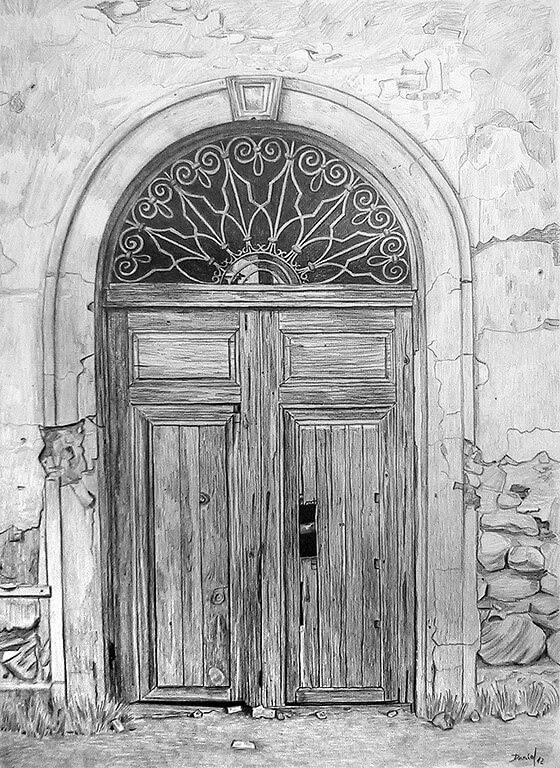 10-Puerta-de-la-iglesia-del-cortijo-Daniel-Formigo-Pencil-Urban-Architectural-Drawings-www-designstack-co