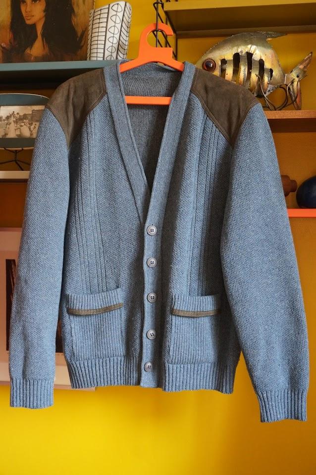 gilet laine / daim  70s Suede woolen cardigan