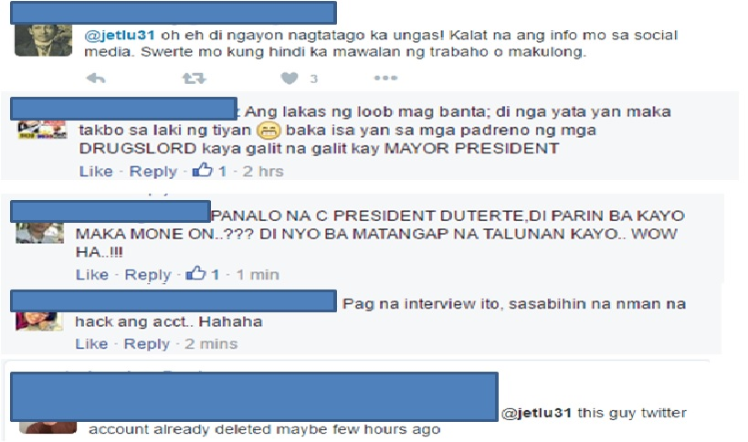 Pro-Duterte fired back at Robert Lu.