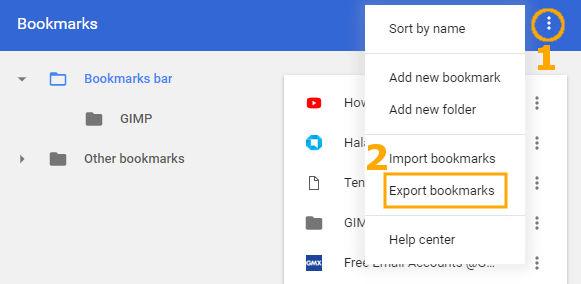 Meng-export bookmark situs di Google Chrome