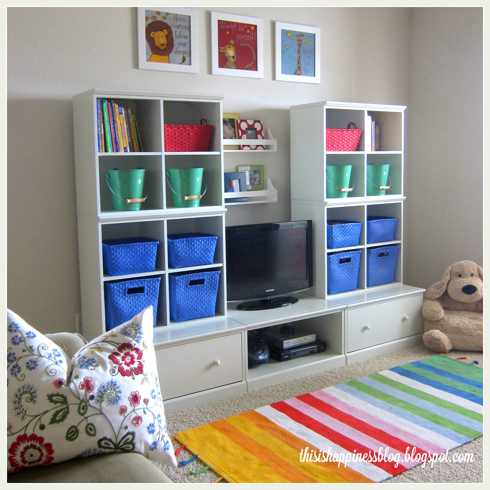 Playroom Storage Ideas This Is Happiness Bright Cheerful Organized Playroom