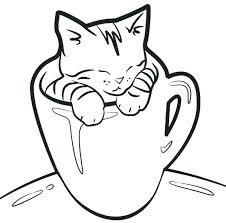Kitty Cat On Mug Coloring Pages For Kids