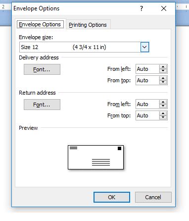 Size Amplop di settings