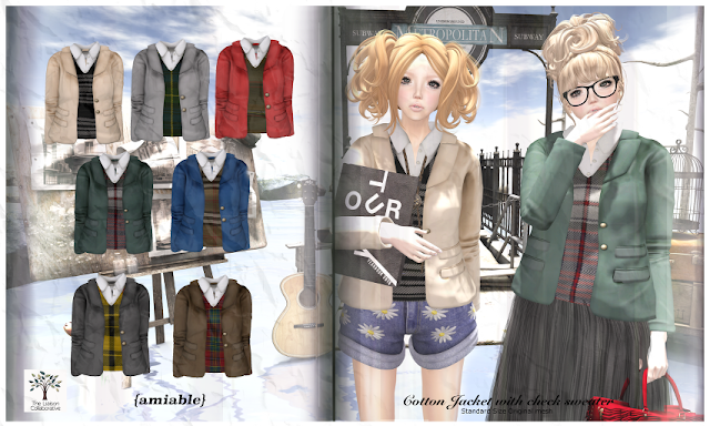 {amiable}Cotton Jacket with Check Sweater