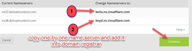 Copy both nameserver and add it into the domain registrar