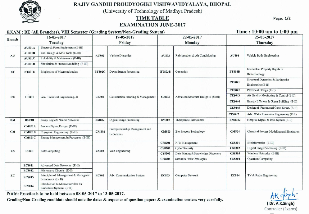 RGPV B E 8th Semester (Grading System) Examination Time