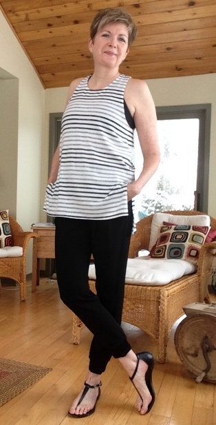 Aritzia grey striped tank, Aritzia black crepe joggers, Michael Kors sandals