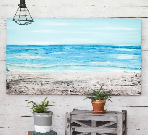 Ocean Beach Painting on Wood