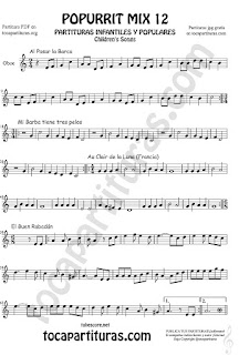 Partitura de Oboe Popurrí Mix 12 Partituras de Al Pasar la Barca, Mi Barba tiene tres pelos, El buen rabadan, Aur Clair de la luna Infanti Sheet Music for Oboe Music Score