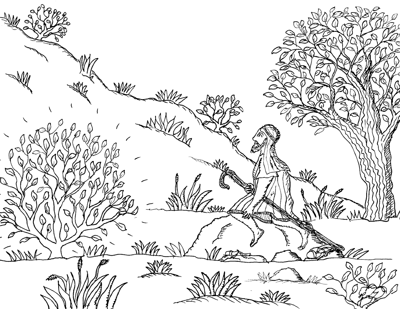 The Burning Bush Coloring Page - That Resource Site | 1237x1600